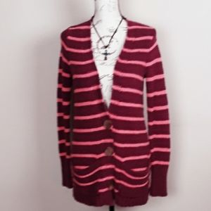 Free People oversized striped button up cardigan